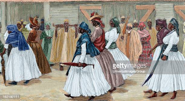 Africa Sierra Leone Funeral procession Colored engraving 1880