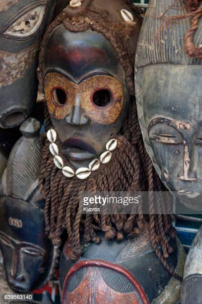 Africa, South Africa, Cape Town, View Of African Carved Wooden Masks In Shop Selling Tourism Trinkets And Souvenirs (Year 2009)