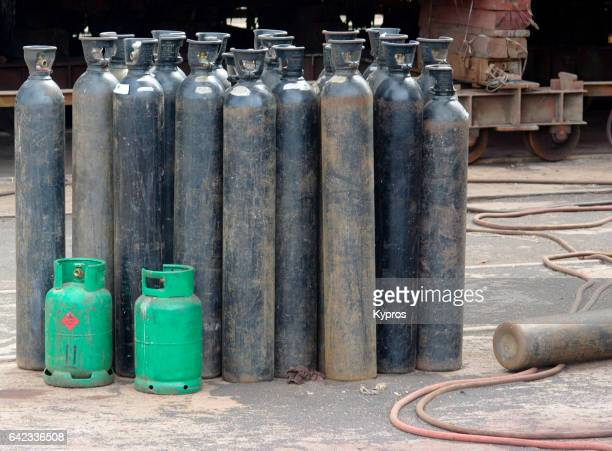 Africa, South Africa, Cape Town, View Of Gas Cylinders (Year 2009)