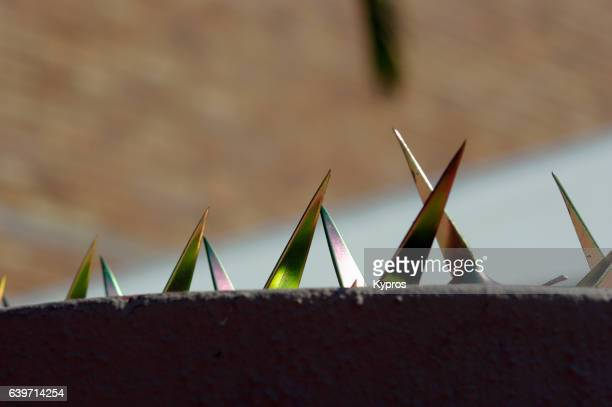 Africa, South Africa, Cape Town, View Of Spiked Railing Fence Steel Spikes (Year 2009)