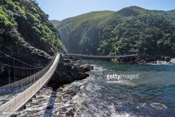 africa, south africa, east cape, tsitsikamma national park, storms river mouth, suspension bridge - eastern cape stock pictures, royalty-free photos & images