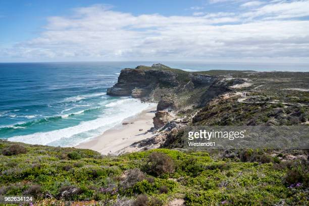africa, south africa, western cape, cape of good hope, beach seen from cape point - nature reserve stock pictures, royalty-free photos & images
