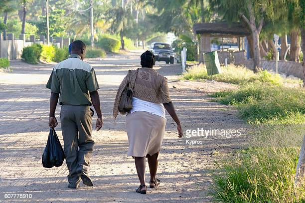 africa, southern africa, mozambique, view of couple walking (year 2009) - fanny pic stock photos and pictures