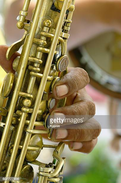 Africa, Southern Africa, South Africa, Cape Town, View Of African Man Playing Musical Instrument (Year 2009)