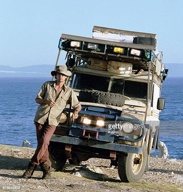 Africa, Southern Africa, South Africa, Cape Town, View Of Explorer With Expedition Vehicle After Completing 38,000-km, 15 Month Solo Drive Through 18 Countries. (Year 2000)