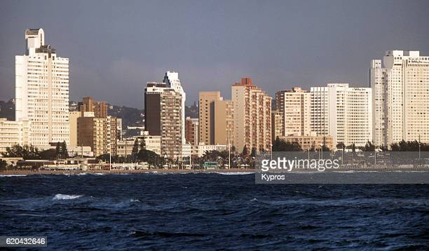 africa, southern africa, south africa, durban, cityscape view of town, architecture and buildings (year 2000) - ダーバン ストックフォトと画像