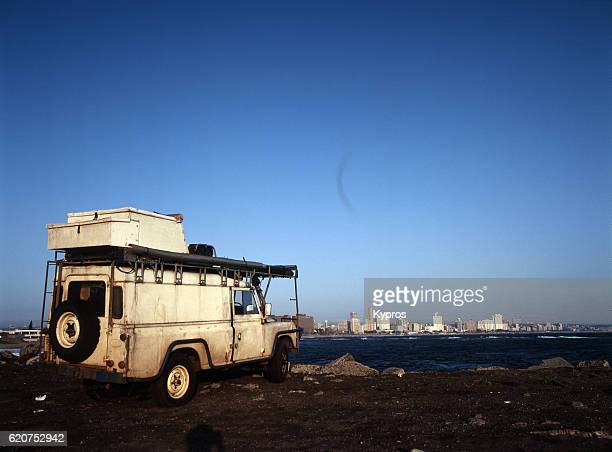 Africa, Southern Africa, South Africa, Durban, View Of Expedition Vehicle On Pier At Dawn (Year 2000)