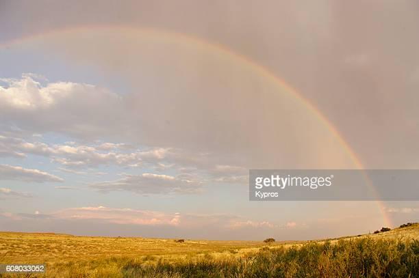 Africa, Southern Africa, South Africa, Kalahari Desert, View Of Rainbow (Year 2009)