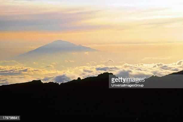 Africa Tanzania Sunset on Mount Meru along the Mweka Route at Barafu Hut on Mount Kilimanjaro