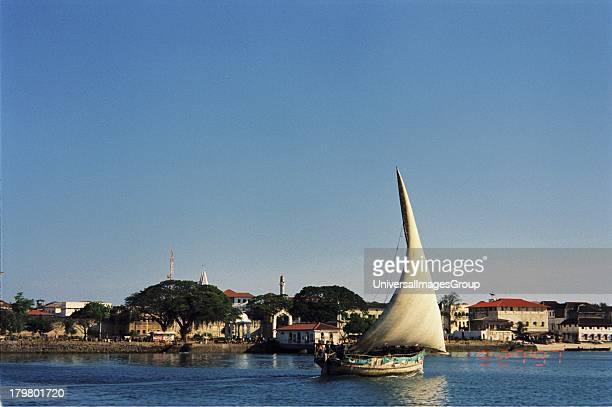 Africa Tanzania Unguja Zanzibar Native Dhow in Stone Town Harbor