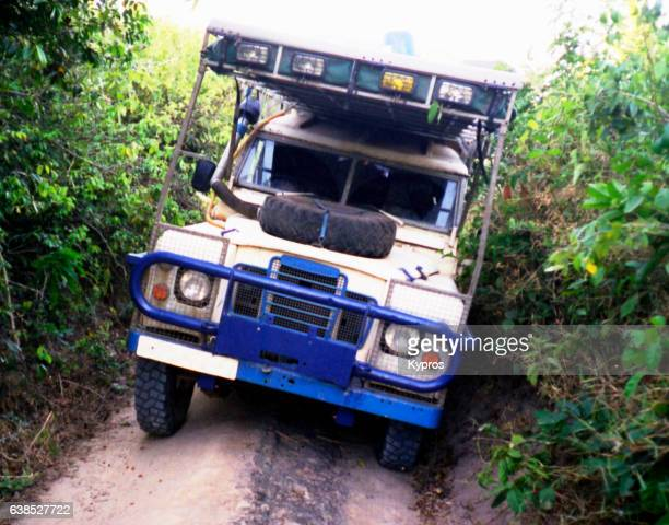 Africa, Tanzania, View Of Safari Vehicle On Jungle Track (Year 2000)