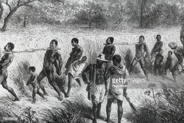 Africa The African Slave Trade A caravan of captives on the way to the coast to be shipped overseas to become slaves