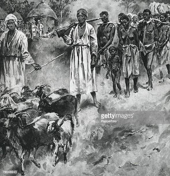 Africa The African Slave Trade Slaves chained together on the march to be sold into the slave market