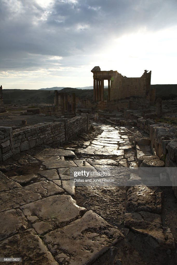 Africa, Tunisia, Dougga Archaeological Site, Roman Ruins, The Capitol at Sunset : Stock Photo
