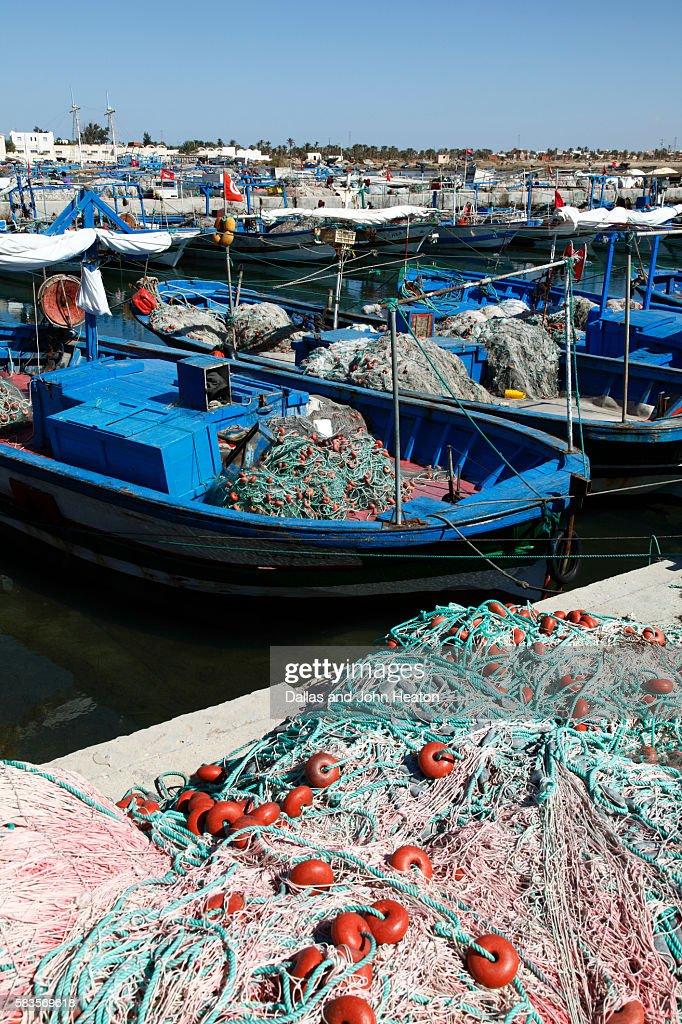 Africa, Tunisia, Mediterranean Sea, Gulf of Gabes, Djerba Island, Fishing Boats at Ajim Quay : Stock Photo