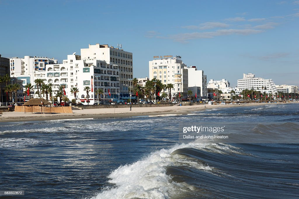 Africa, Tunisia, Mediterranean Sea, Gulf of Hammamet, Sousse, Beachfront Hotels, Oceanfront Skyline : Stock Photo