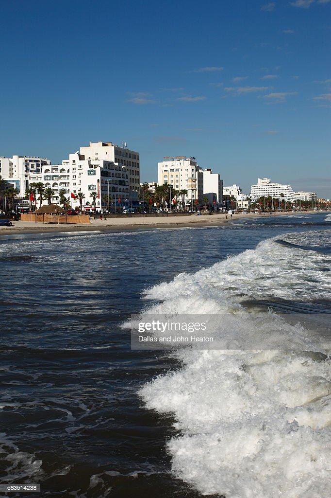 Africa, Tunisia, Mediterranean Sea, Gulf of Hammamet, Sousse, Beachfront Hotels, Oceanfront Skyline : Stock Photo