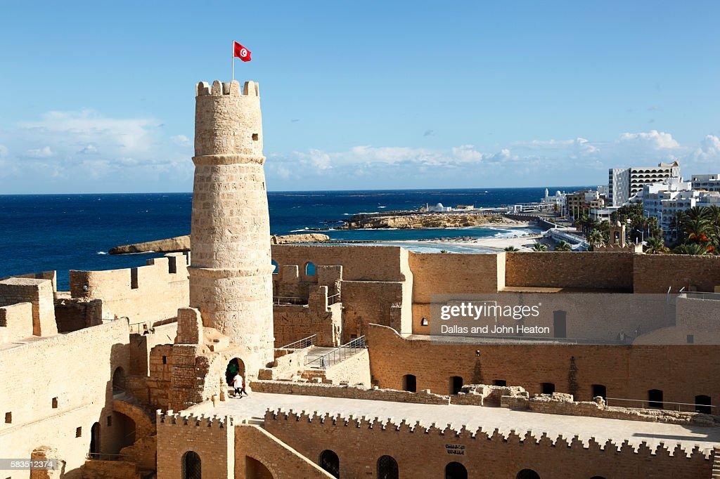 Africa, Tunisia, Mediterranean Sea, Monastir, Ribat, Fortress : Stock Photo