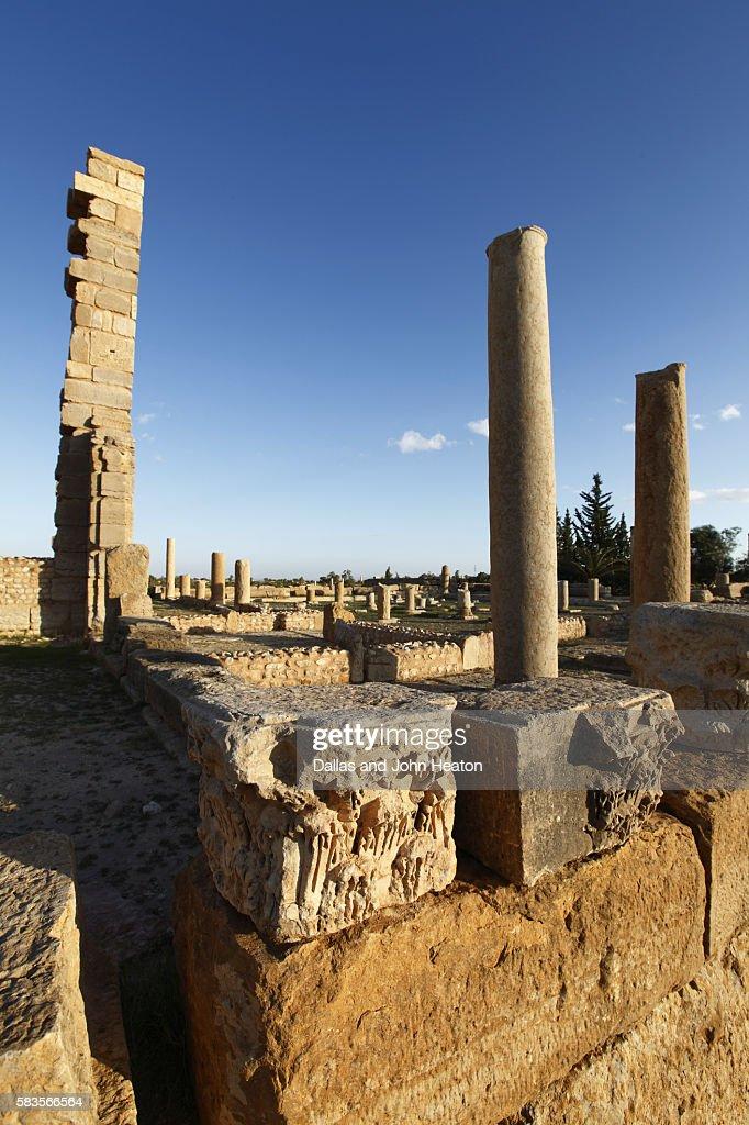Africa, Tunisia, Sbeitla Archaeological Site, Roman Ruins, Pillars of the Church of St. Servus : Stock Photo