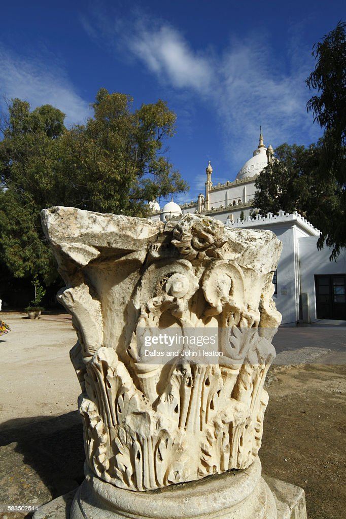 Africa, Tunisia, Tunis, Carthage, Byrsa Hill, St. Louis Cathedral, Ruins of Sculptured Pillar in the Punic Quarter : Stock Photo