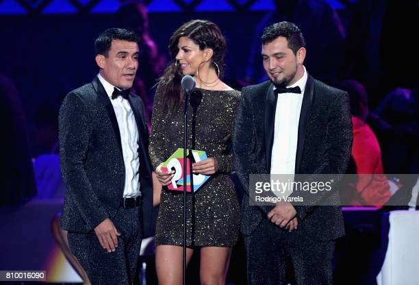 Africa Zavala and Duo Septima Banda on stage at the Univision's 'Premios Juventud' 2017 Celebrates The Hottest Musical Artists And Young Latinos...