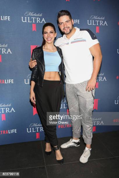 Africa Zavala and Sergio Zavala attend the launch of beer fitness Michelob Ultra at Reebok CrossFit on July 27 2017 in Mexico City Mexico