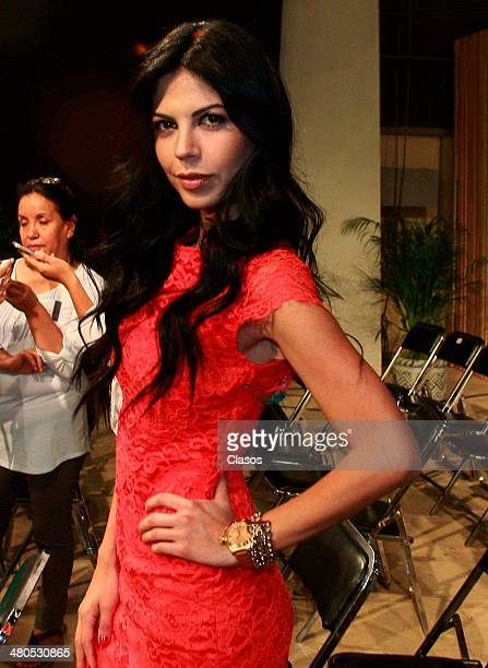 Africa Zavala attends to a mass before the start of Televisas'a new soap opera La Malquerida at Televisa San Angel on March 24 2014 in Mexico City...