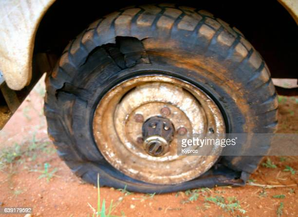 Africa, Zimbabwe, View Of Punctured Leaking Damaged Tyre (Year 2000)