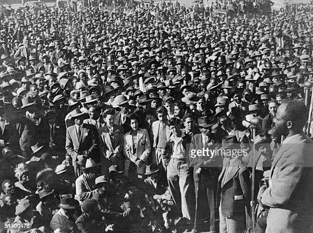 An unlocated photo taken in South Africa in the 1950s shows supporters of the African National Congress gathering as part of a civil disobedience...