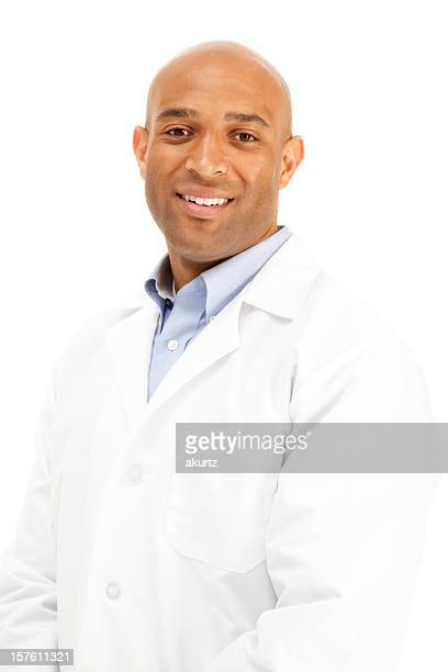 African American adult man white lab coat