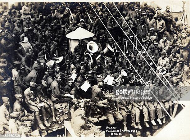 African American band members on the USS Philippine during voyage to the United States from Brest France 1919