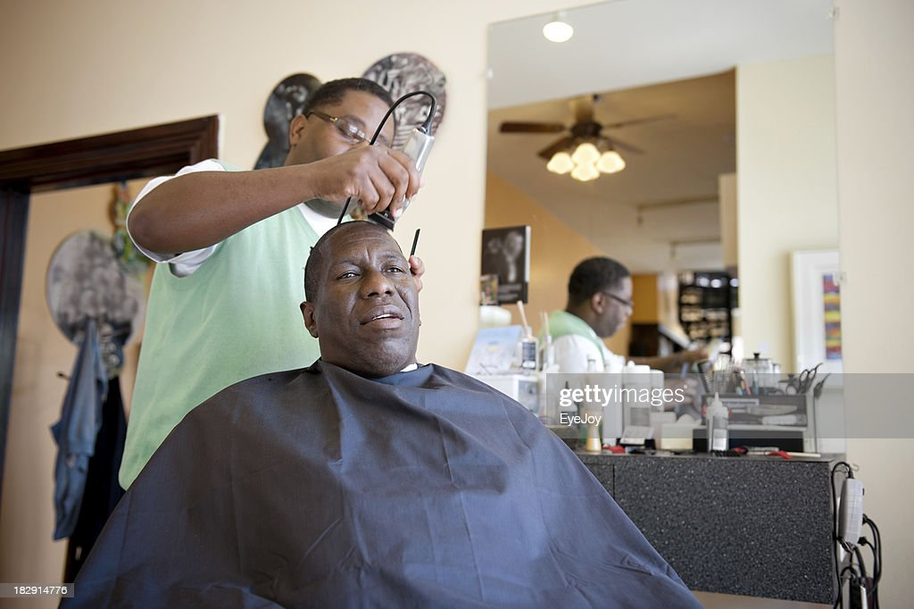 African American Barber Shop Shave : Stock Photo