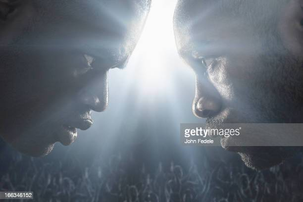 african american boxers standing face to face - mixed martial arts stock pictures, royalty-free photos & images