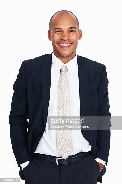 アフリカ系アメリカ人のビジネスの男性、ポケットに手を入れている