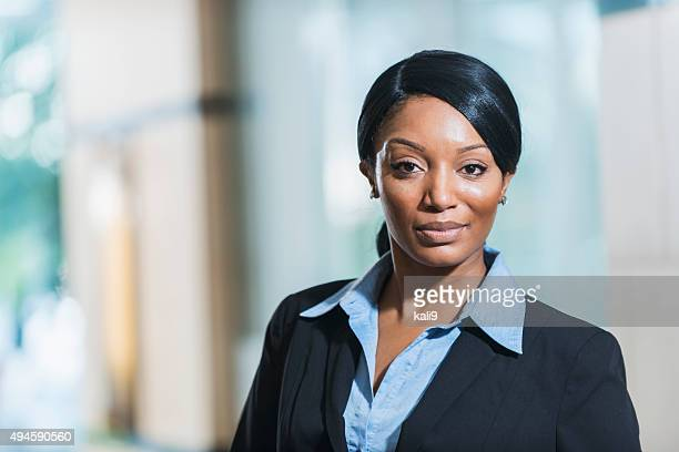 African American business woman wearing suit