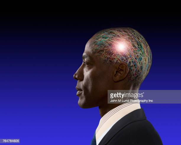 African American businessman brainstorming