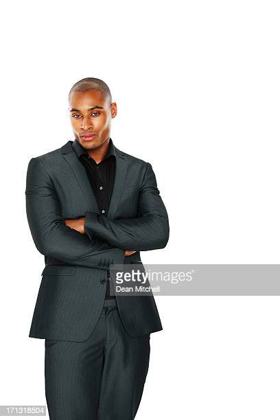 african american businessman on white - most handsome black men stock photos and pictures