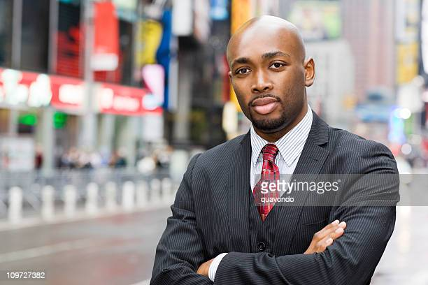 african american businessman portrait in times square, copy space - most handsome black men stock photos and pictures