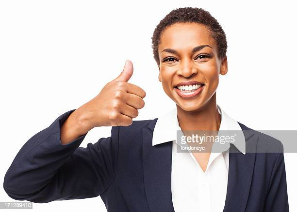 African American Businesswoman Giving a Thumbs Up - Isolated