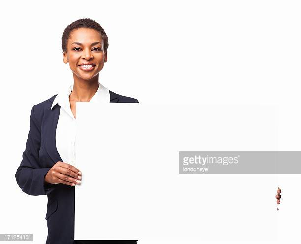 African American Businesswoman Holding a Blank Sign Board - Isolated