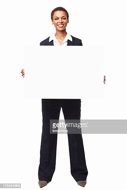 african american businesswoman holding a blank sign board - isolated - blank sign stock photos and pictures