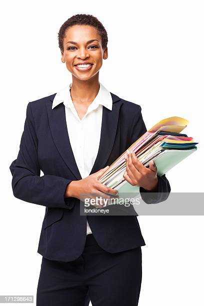 African American Businesswoman Holding Files - Isolated