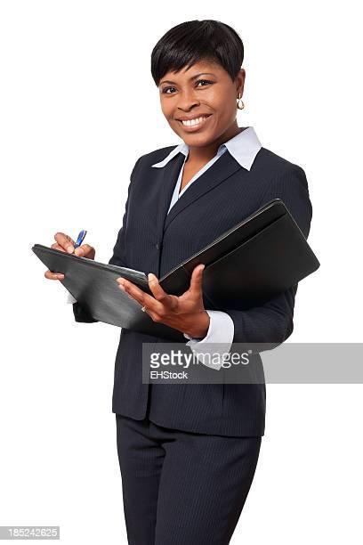 Afro-américain de femme d'affaires isolé sur fond blanc