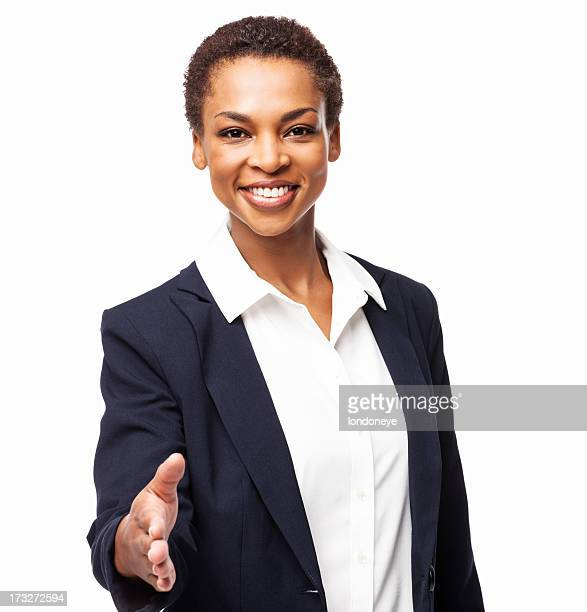 African American Businesswoman Offering Handshake - Isolated