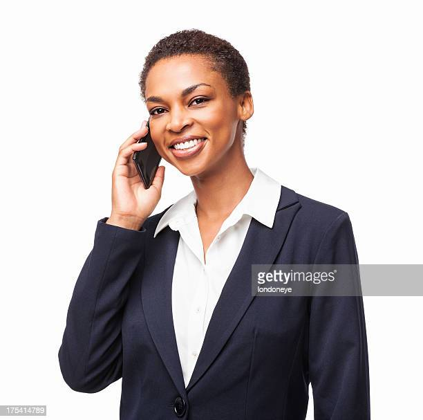 African American Businesswoman On Call - Isolated
