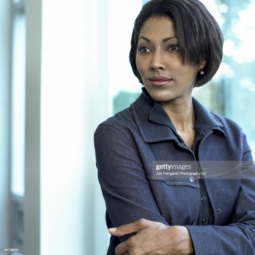 African American businesswoman smiling : Stock Photo