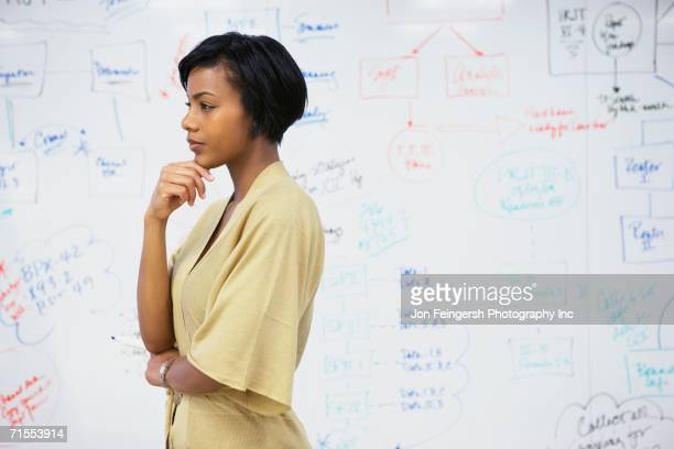 African American businesswoman standing in front of whiteboard wall