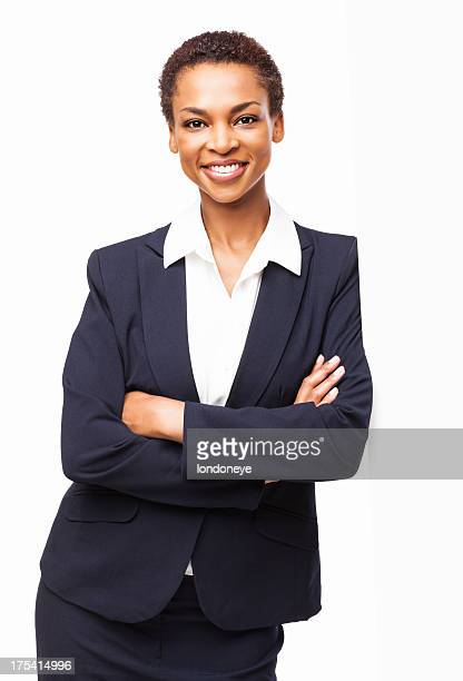 African American Businesswoman Standing With Hands Folded - Isolated