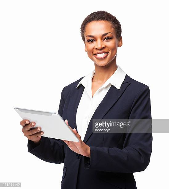 African American Businesswoman Using Digital Tablet - Isolated