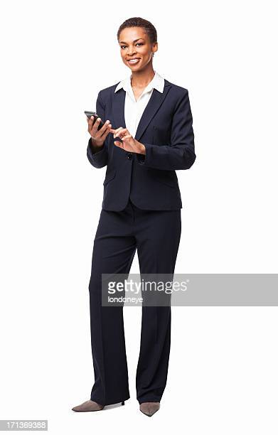 African American Businesswoman Using Smart Phone - Isolated